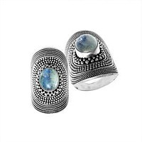 AR-1066-RM-7 Sterling Silver Ring With Rainbow Moonstone
