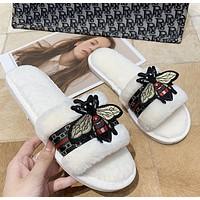 2020 honeybee plush slippers female winter spring and autumn home slippers flat bottom anti slip wear resistant summer air conditioning slippers