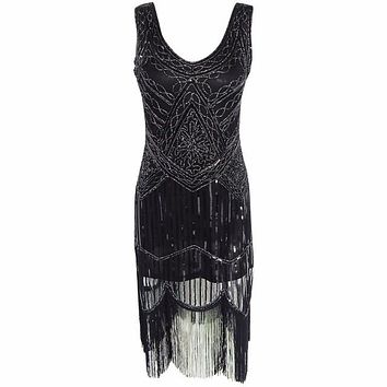 Women's 1920s Gastby Inspired Sequined Embellished Fringed Flapper Black Silver Thread Embroidery Dress