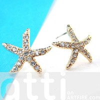 Large Starfish Star Shaped Stud Earrings in Gold with Rhinestones