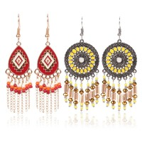 2pairs/lot Women Crystal Bohemian Earring DangleEarrings for Women Boucle D'oreille Jewelry