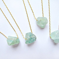 Fluorite Necklace Green Stone Necklace Rough Raw Crystal Pendant Fluorite Rough Big Green Stone Green Necklace Pendant Boho Fluorite Jewelry