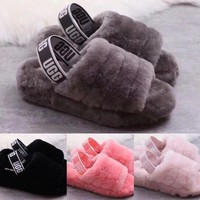"""UGG"" Hight Quality Hot Sale Women Fluff Yeah Slippers Sandals Shoes"