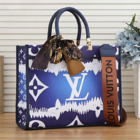 LV Louis Vuitton new color printing letters with silk scarf handbag shoulder bag messenger bag