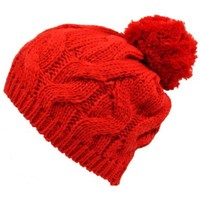 Luxury Divas Red Twisted Cable Knit Winter Pom-Pom Beanie Hat:Amazon:Clothing