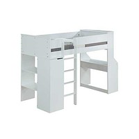 "White Wood Veneer (Laminated) Loft Bed 45"" X 92"" X 66"""