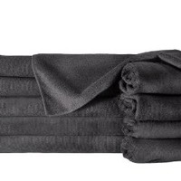 "Towels by Doctor Joe ULTRA-15BLK Safe-2-Bleach Deep Black 16""x27"" Microfiber Salon Towel - Pack of 12"