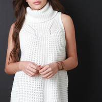 Knitted Sleeveless Turtleneck Top