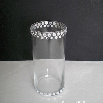 "BLING GLASS VASE - Sparkling Clear Glass Cylinder Vase w/ Clear Rhinestones - 7"" or 10"" tall"