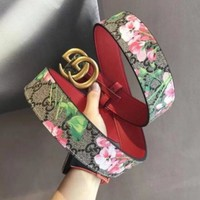 GUCCI Fashion Woman Flower Print Double G Smooth Buckle Leather Belt+Gift Box (3-Color) I