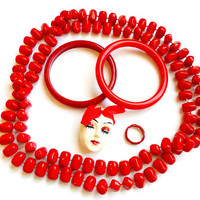 Vintage Red Jewelry Lot - Necklace Bangle Brooch Ring - Face Broach Pin - Acrylic Jewelry Set - Wear Resell Repurpose