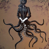 "Print 8x10"" - Victoriandustrial 6 - Victorian Octopus Industrial Revolution Tentacles Steampunk Fantasy Edwardian Gothic Gas Mask"