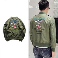 2017 Men's winter thick cotton padded Ma1 Pilot Embroidered Bomber Jacket cartoon Windproof Jacket Cool Flight Jacket Clothing
