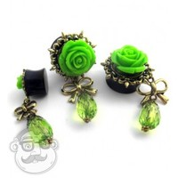 "Green Rosebud Dangle Plugs (2 Gauge - 7/8"") 
