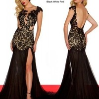 New Sexy  Black Lace Pageant Dress Prom Formal Dresses  Evening Gowns Custom