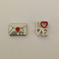 Floating charms for living memory lockets - love letter, LOVE with red heart