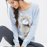 FOREVER 21 Teddy Bear PJ Sweatshirt Light Blue