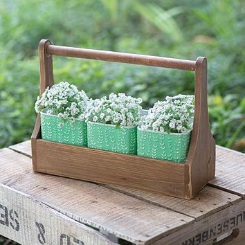 Wooden Carrier with Mint Green Containers