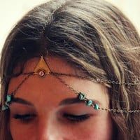 head chain with triangle pink opal and turquoise, chain headband, pink opal headband, turquoise headband, unique headband