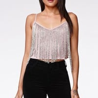 Kendall & Kylie Beaded Fringe Cami - Womens Shirts - Brown