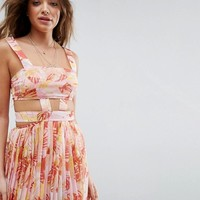 ASOS Beach Cut Out Chiffon Dress in Pink Palm Print at asos.com