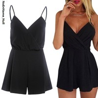NoEnName_Null Sexy Black Jumpsuits For Women 2017 Summer Playsuits Women Rompers V neck Loose Camisole Playsuits Boho Jumpsuit