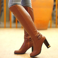 Soft Leather Winter High Riding Boots Side Zipper Belt Free ship