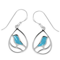 Boma Sterling Silver Turquoise Bird Earrings