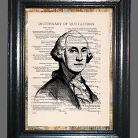 George Washington Portrait - Vintage Dictionary Book Page Art, Upcycled Book Art Print on Dictionary Page, Washington Print