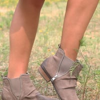 NAUGHTY MONKEY Taupe Distressed Suede Ankle Boots
