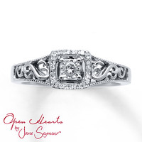Open Hearts Ring 1/10 ct tw Diamonds Sterling Silver