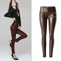 Fashion Casual Brown Large Size Low Waist Stretch Pu Coating Decoration Zip imitation leather Long Pants Jeans