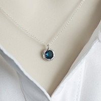 Blue Sapphire Necklace, Blue Sapphire round Drop Glass, Bridesmaids Gift, Dainty Everyday Necklace