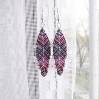 Micro macrame earrings - Pink Brown Peacock - Feathers Boho Free Spirit Unique