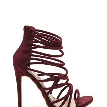 Make A Wish Strappy Faux Suede Heels