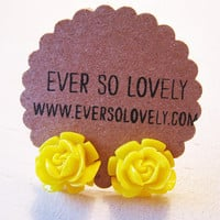 neon yellow canary rose earrings by EverSoLovely