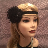 1920s Flapper Black Gold Ostrich Feather headband head piece art deco 20s satin ribbon lace headpiece gatsby 1920s Pearl Crystal 1920s (665)