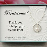 Gift for Bridesmaids gift sterling silver necklace, pearl necklace, wedding gift box eternity necklace Thank you for helping us tie the knot