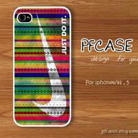 JUST DO IT with Nike aztec color pattern : Handmade Case for Iphone 4/4s , Iphone 5 Case Iphone