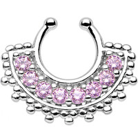 Pink Gem Tribal Queen Non-Pierced Clip On Septum Ring | Body Candy Body Jewelry