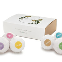 Bath Bomb Gift Set - 6 Aromatherapy Handmade Spa Bath Fizzies. Infused with All Natural Organic Essential Oils, Shea Butter, and Epsom Salt. Relax in Moisturizing Oils & Lush Fragrances. By Verd&Agua