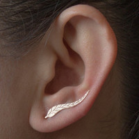 New Fashion Ear Sweep Wrap Silver Gold Ear Climber Leafs Ear Clip Cuffs Earrings Jewelry  For Women Lady Wing Ear Clips Earing