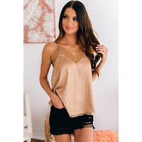 Dancing Diva Lace Trimmed Tank Top (Champagne)