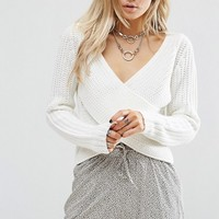 Noisy May Petite Wrap Front Sweater at asos.com