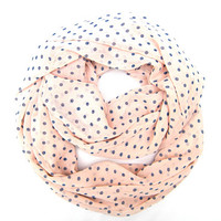 Feminine Soft Pink Polka Dot Infinity Scarf Periwinkle Polka Dots Beautiful Double Loop Light and Airy Womens Scarf Cute Polka Dot Scarf