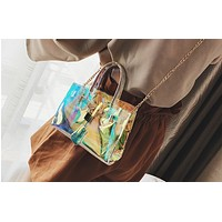 ulzzang transparent bag female 2017 new laser ins explosion jelly bag handbag Messenger bag