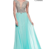 Kari Chang KC52 Jeweled Cap Sleeve Chiffon Prom Dress
