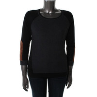 August Silk Womens Knit Elbow Patches Pullover Sweater