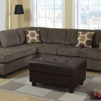 F7263 - Ash Microfiber Sectional Sofa W/ 2 Accent Pillows - Furniture2Go