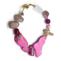 Fuchsia pink beige bracelet Natural stone slab Bohemian bracelet Eclectic asymmetrical OOAK handmade unique Statement jewelry ALFAdesigns